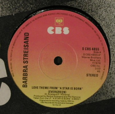 "Streisand,Barbra: Love Theme From ""A Star Is Born"", CBS(S CBS 4855), UK, FLC, 1976 - 7inch - T2205 - 3,00 Euro"