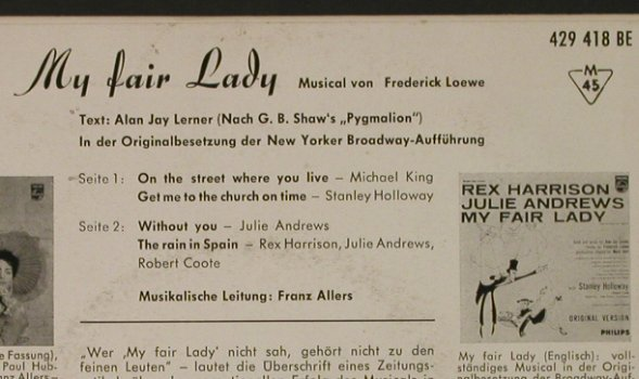 My Fair Lady: Original Cast, Philips(429 418), D, 1962 - EP - T2453 - 3,00 Euro