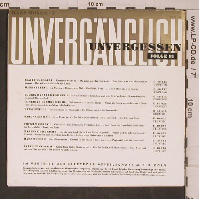 Moser,Hans: Unvergänglich 1,  Folge 81, Columbia(C 40 934), D, 1958 - 7inch - T5405 - 3,00 Euro