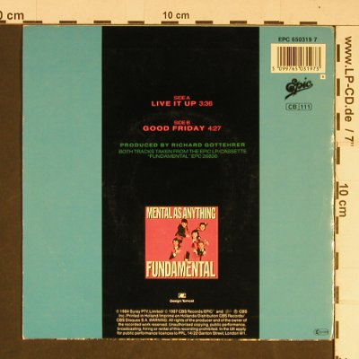 Crocodile Dundee: Live It Up, by Mental as Anything, Epic(EPC 650319 7), NL, 1987 - 7inch - T730 - 2,50 Euro