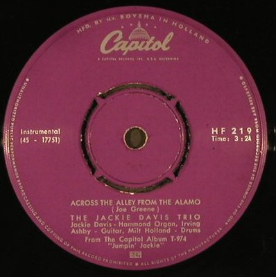 Davis,Jackie: What's The Trouble/Across The Alley, Capitol(Hammond)(HF 219), NL,FLC,  - 7inch - T2976 - 4,00 Euro