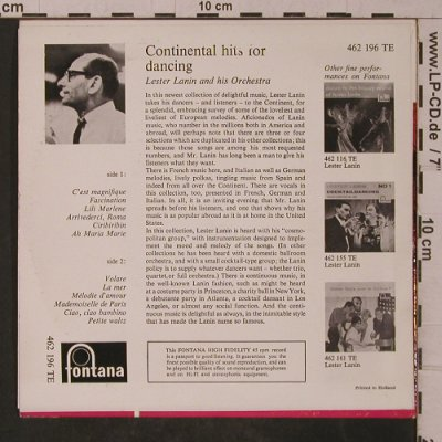 Lanin,Lester  and his Orch.: Continental Hits for Dancing, Fontana(462 196 TE), NL, m-/vg+,  - 7inch - T4858 - 3,00 Euro