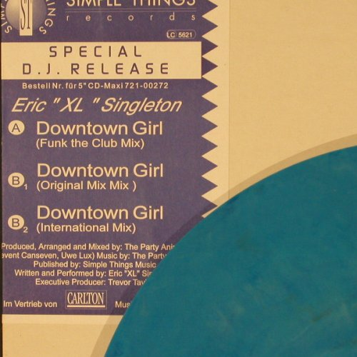 Eric'XL' Singleton: Downtown Girl*3, m-/vg+,Blue Vinyl, Simple Things(721-00272), ,  - 12inch - C2180 - 3,00 Euro