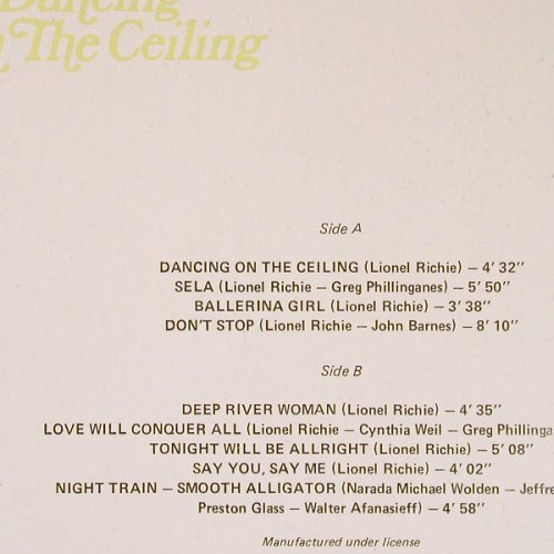 Richie,Lionel: Dancing On The Ceiling, Balkanton(BTA 12111), Bulgaria,  - LP - E2176 - 5,00 Euro