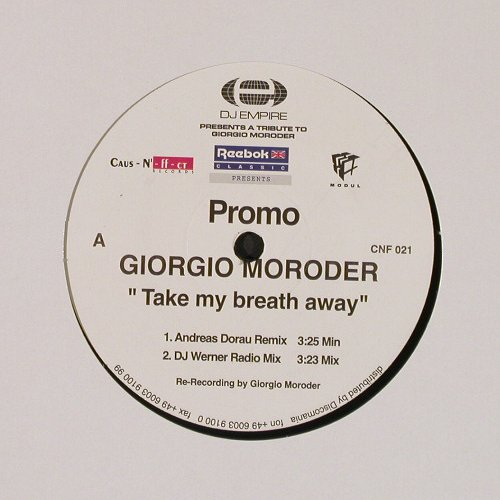 Moroder,Giorgio: Take My Breath Away*4,Promo, DJ Empire(CNF 021), D,  - 12inch - E3831 - 4,00 Euro