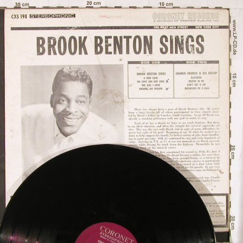 Benton,Brook: Sings With Charlie Francis, vg+/vg+, Coronet(CXS 198), US,  - LP - E4415 - 4,00 Euro