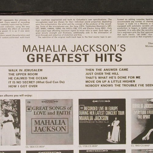 Jackson,Mahalia: Greatest Hits, FS-New, Columbia(CS 8804), US, 1963 - LP - E5596 - 9,00 Euro