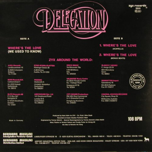 Delegation: Where's The Love(We use..)*3, ZYX(5644), D, 1987 - 12inch - E6356 - 2,00 Euro