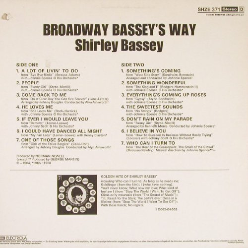 Bassey,Shirley: Broadway-Bassey's Way, co, HörZu(SHZE 371), D,  - LP - E840 - 4,00 Euro