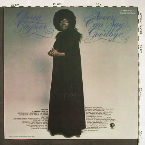 Gaynor,Gloria: Never Say Goodbye, Club Sonderaufl., MGM(27 510-7), D, 1975 - LP - H1835 - 6,50 Euro