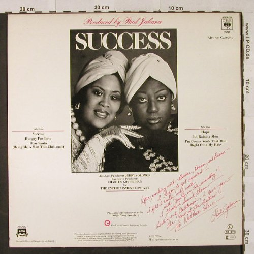 Weather Girls: Success, CBS(25719), UK, 1983 - LP - H2990 - 3,00 Euro