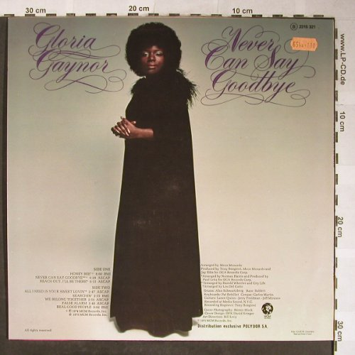 Gaynor,Gloria: Never Say Goodbye, MGM(2315 321), F, 1975 - LP - H5562 - 6,50 Euro