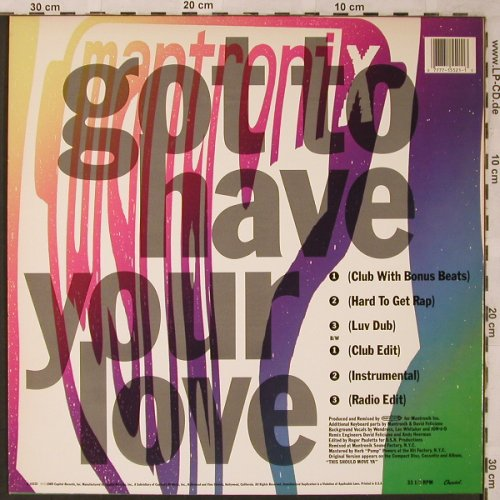 Mantronix: Got to have your love *6, Capitol(V-15521), US, 1989 - 12inch - X2201 - 3,00 Euro