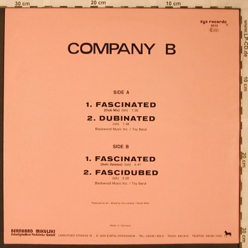 Company B: Fascinated *3 / Dubinated, ZYX(ZYX 5610), D, 1987 - 12inch - X2214 - 4,00 Euro