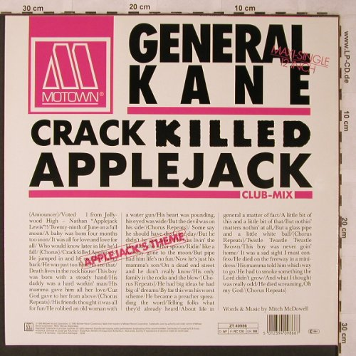General Kane: Crack Killed Applejack*2+1, Gordy(ZT 40986), D, 1986 - 12inch - X2623 - 4,00 Euro