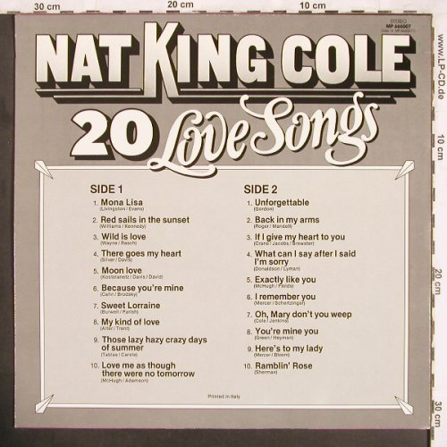 Cole,Nat King: 20 Love Songs, MP Records(MP 666007), I, 1983 - LP - X3653 - 5,00 Euro