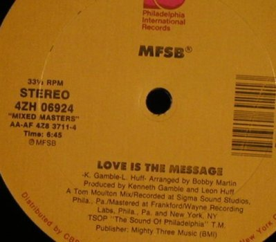 MFSB: Love Is The Message / TSOP,FLC, Philadelphia(4ZH 06924), US,33rpm,  - 12inch - X5250 - 5,00 Euro
