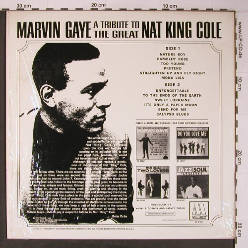Gaye,Marvin: A tribute t.t.gr.Nat King Cole, Motown(M5-216V1), US, Ri, 1981 - LP - X6492 - 14,00 Euro