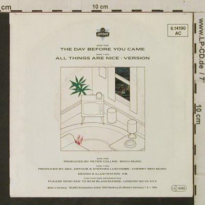 Blancmange: The Day Before You Came/All Things, London(6.14190 AC), D, 1984 - 7inch - T3446 - 2,00 Euro
