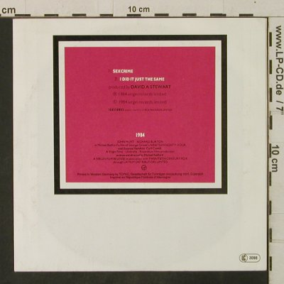 Eurythmics: Sexcrime/I Did It Just The Same, Virgin(106 974-100), D, 1984 - 7inch - T3449 - 2,50 Euro
