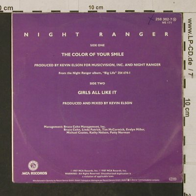 Night Ranger: The Color of your smile/Girls all.., MCA(258 362-7), D, woc, 1987 - 7inch - T1417 - 2,50 Euro