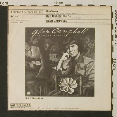 Campbell,Glen: Sunflower / How High Did We Go, Electrola(006-85 189), D, 1977 - 7inch - T3121 - 2,00 Euro