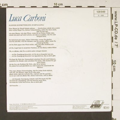 Carboni,Luca: Farfallina, one sided, Ariola(109 949), D, 1988 - 7inch - S9089 - 2,50 Euro