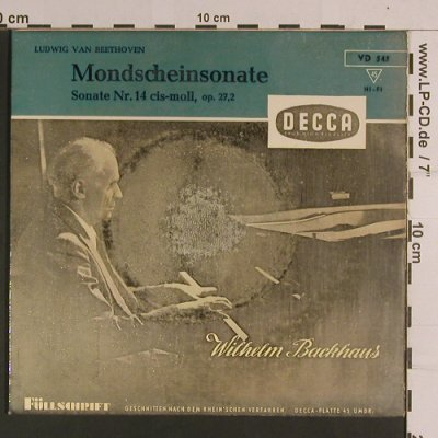 Beethoven,Ludwig van: Mondscheinsonate,Nr.14 cis-moll, Decca(VD 545), D, m-/vg-,  - 7inch - S8158 - 6,50 Euro