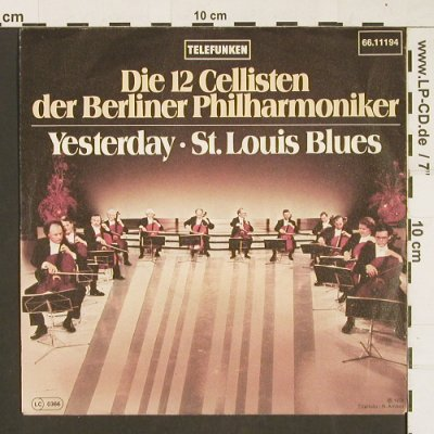 12 Cellisten der Berliner Philh.: Yesterday/St.Louis Blues, Telefunken(66.11 194-01), D, Promo,  - 7inch - S9649 - 3,00 Euro