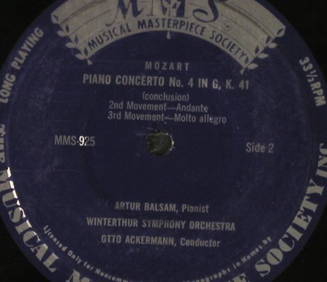 Mozart,Wolfgang Amadeus: Piano Concerto No. 4 in G, K.41, MMS,33rpm(MMS-925), Pl. Cover,  - EP - T2628 - 3,00 Euro