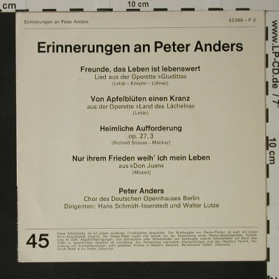 Anders,Peter: Erinnerungen an, Marcato(42 056), D,  - EP - T3249 - 2,50 Euro