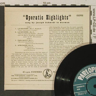Schmidt,Joseph: Operatic Highlights, sung in german, Parlophone(CGEP22), UK,  - EP - T3339 - 4,00 Euro