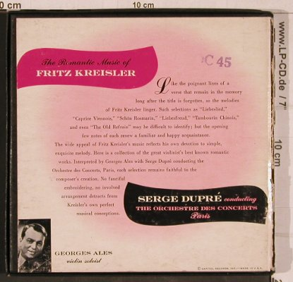 "Kreisler,Fritz: The Romantic Music of, vg+/vg+, Capitol(KFC 273), US, Box,  - 7""*3 - T4672 - 7,50 Euro"