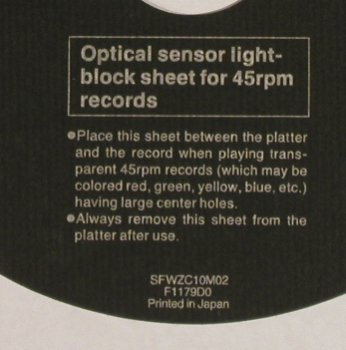 Optical sensor light-block sheet: for 45 rpm records, SFWZC10M02(F1179D0), Japan,  - 7inch - S8825 - 2,50 Euro