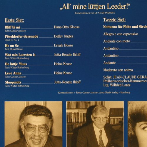 V.A.All Mine Lüttjen Leeder !: Kompositionen von Gunnar Janssen, Outsider(107), D, 1987 - LP - E1635 - 5,00 Euro