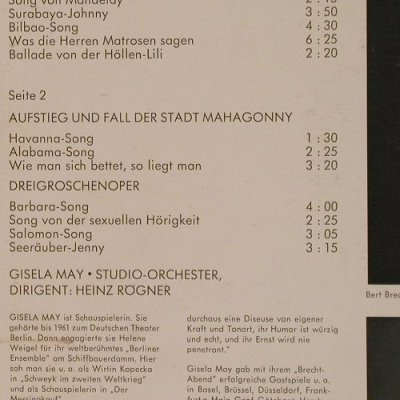 May,Gisela: Brecht / Weill, Mono, Philips(843 783 PY), D, 1966 - LP - F5490 - 9,00 Euro