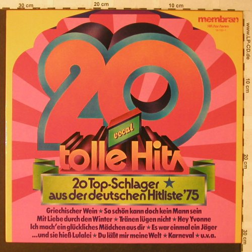 V.A.20 Tolle Hits-Vocal: 20 Tr., Membran(10-152-1), D, 1975 - LP - F771 - 3,00 Euro