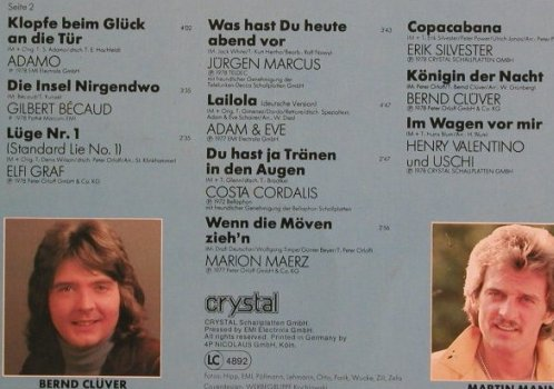 V.A.Deutsche Sommer Hitparade'78: Carpendale...H.Valentino&Uschi, Crystal(058 CRY 32 972), D, 20 Tr., 1978 - LP - F844 - 3,00 Euro