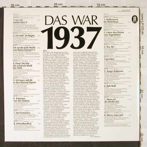 V.A.Das Waren Schlager: 1937 - Club.Ed., Odeon(32 517-5), D,  - LP - H3428 - 5,00 Euro