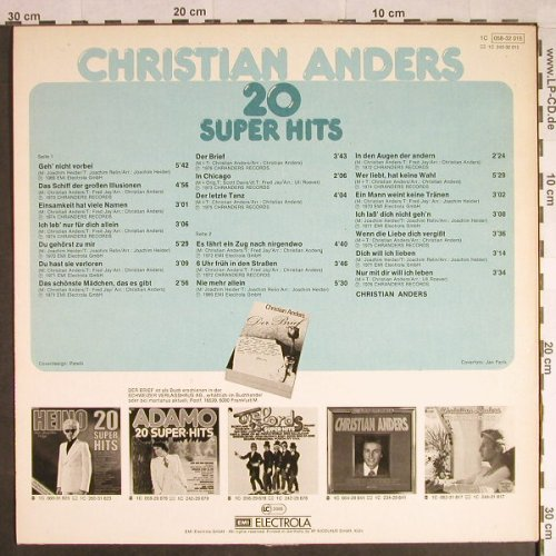 Anders,Christian: 20 Super Hits, m-/vg+, Chranders(058-32 015), D,  - LP - H406 - 3,00 Euro