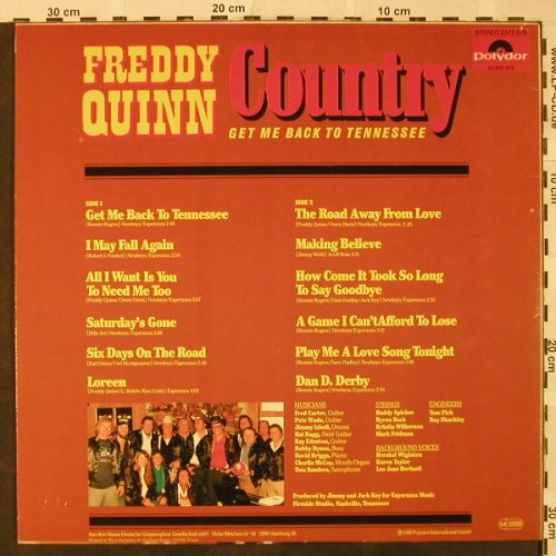 Quinn,Freddy: Country, Get me back to Tennessee, Polydor(2372 079), D, m-/vg+, 1981 - LP - H4854 - 4,00 Euro