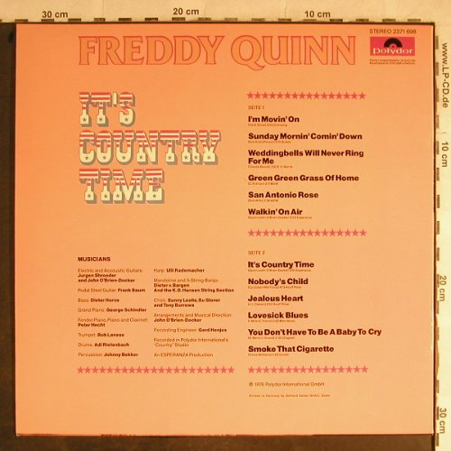 Quinn,Freddy: It's County Time + Poster, Polydor(2371 698), D, 1976 - LP - H8947 - 7,50 Euro