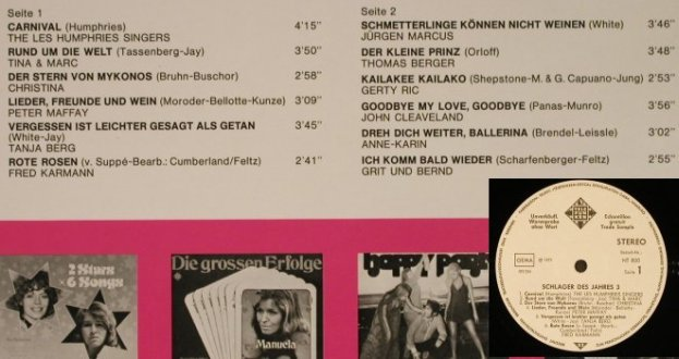 V.A.Schlager des Jahres 3: L.Humphries,P.Maffay,J.Marcus,12Tr., Telefunken(NT 800), D,whMuster, 1973 - LP - H9203 - 4,00 Euro
