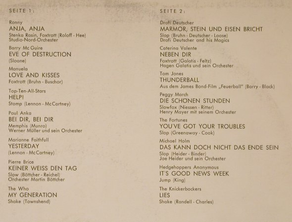 V.A.Spitzenschlager Hitparade: Ronny, Who...Knickerbockers, 16Tr., DSC(H 204), D, vg+/vg+, 1966 - LP - H9239 - 4,00 Euro