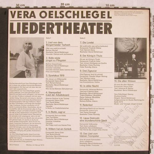Oelschlegel,Vera: Liedertheater, sign., Eterna(8 15 116), DDR, 1979 - LP - H9819 - 9,00 Euro