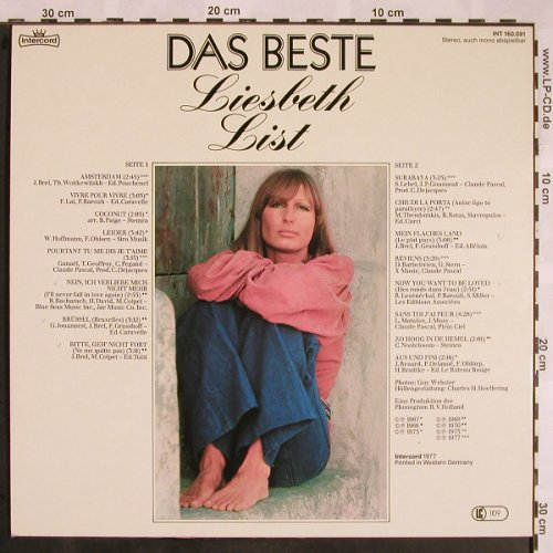 List,Lisbeth: Das Beste, Intercord(INT 160.091), D, 1977 - LP - X1234 - 7,50 Euro