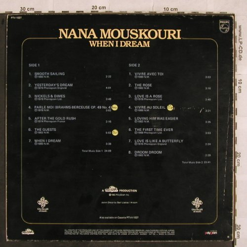 Mouskouri,Nana: When I Dream, VG+/VG+, Philips(PTV-1027), CDN, 1983 - LP - X300 - 7,50 Euro