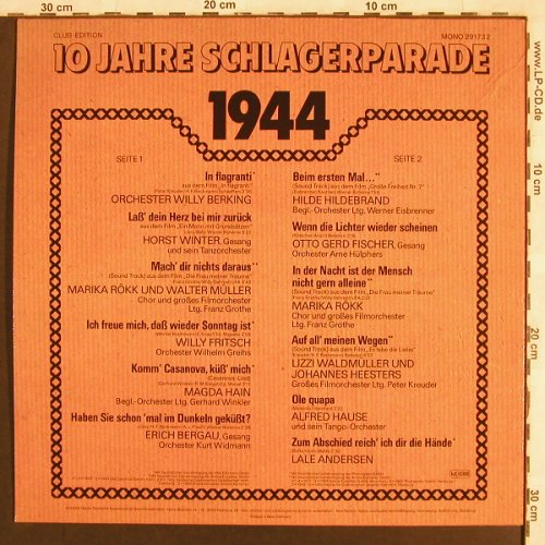 V.A.Schlagerparade-10Jahre-1941-50: 1944-Orch.Willy Berking..L.Andersen, Polydor,Club Ed.(29 173 2), D, Mono,  - LP - X3176 - 4,00 Euro