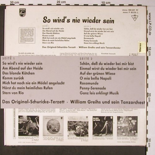 Schuricke Terzett/William Greihs Or: So wirds nie wieder sein, m-/vg+, Philips(840 457 PY), D, 1965 - LP - X5831 - 9,00 Euro