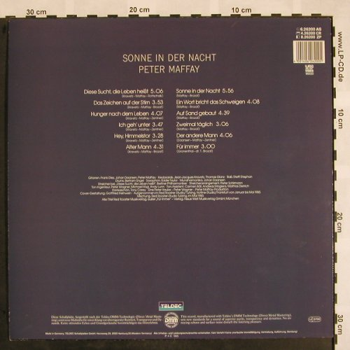 Maffay,Peter: Sonne in der Nacht, Teldec(6.26200 AS), D, 1985 - LP - X907 - 5,00 Euro